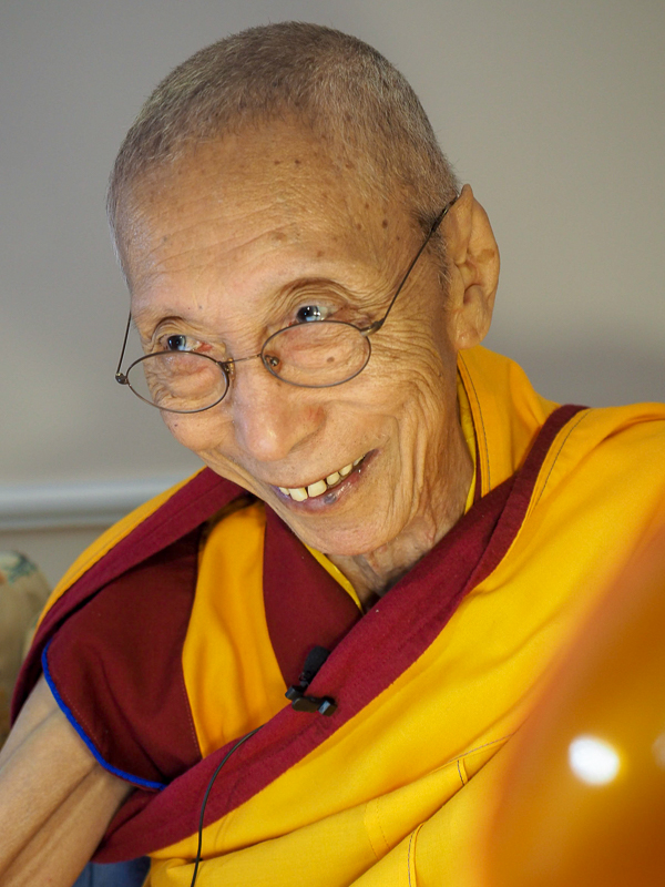 Venerable Geshe Kelsang Gyatso Rinpoche giving the oral <br>transmission of <i>The Mirror of Dharma</i>, Spring 2018.
